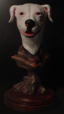 Polymer clay dog portrait