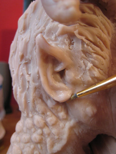 sculpting an ear in polymer clay