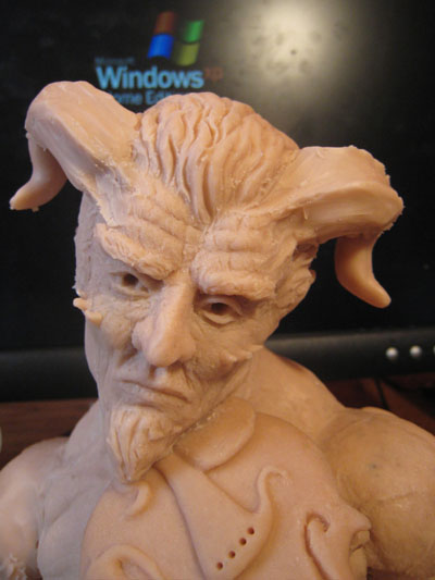 sculpting horns in polymer clay