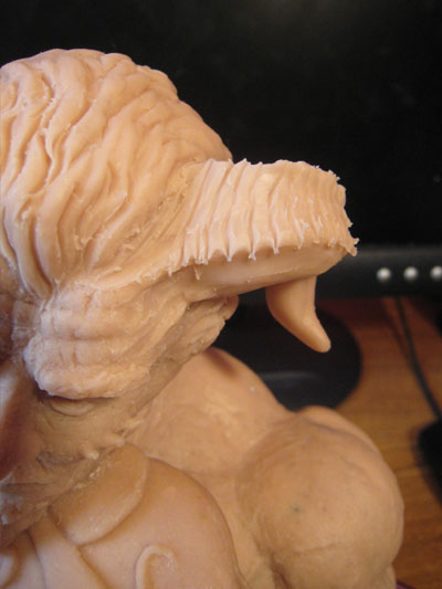adding details to clay horns