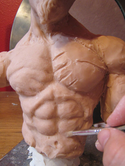 Torso details in polymer clay