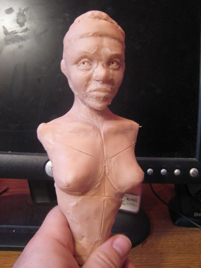 polymer clay tribal torso